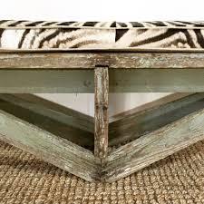extra long vintage farmhouse bench with zebra cushion u2013 forsyth
