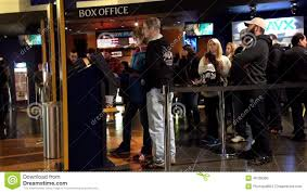 people line up for buying movie ticket at cinema stock footage