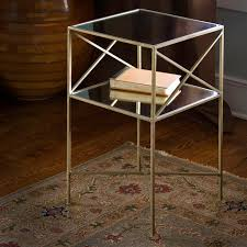 Glass Accent Table Glass Accent Table Brass Plated Iron And Glass Square Side