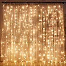 sheer curtains with lights amazon com twinkle star 300 led window curtain string light for