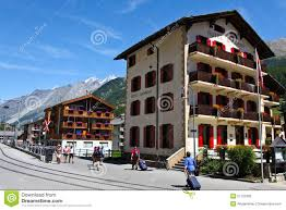 traditional swiss hotels in zermatt switzerland editorial stock