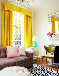 Yellow Brown Curtains Bright Yellow Curtain And Brown Couch For Classic Family Room