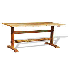 Antique Dining Furniture Multicolor Reclaimed Wood Dining Table Vintage Antique Style