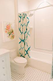 kids bathroom with turquoise blue shower curtain contemporary