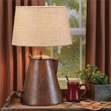 antique vintage copper teapot lamp with shade farmhouse country