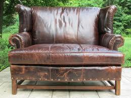 Rustic Leather Sofa by Vintage Brown Distressed