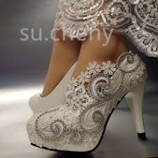 wedding shoes size 11 details about 2 wedge low heels lace white ivory