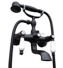 montaggio vasca da bagno bagno montaggio a parete nero ottone lucidato olio clawfoot vasca
