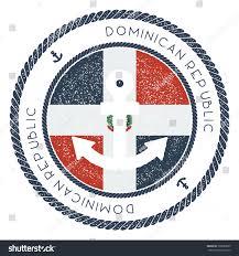 Dominican Republic Flag Nautical Travel Stamp Dominican Republic Flag Stock Vector