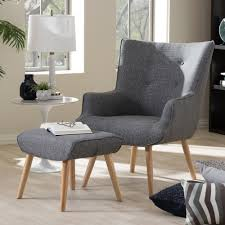 Fabric Armchairs And Ottomans Baxton Studio Nola Mid Century Inspired Grey Fabric Upholstered