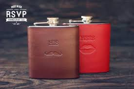 his and flasks 2 custom leather flasks handmade personalized gifts for groom and