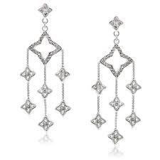 diamond chandelier earrings david yurman sterling silver quatrefoil diamond chandelier earrings