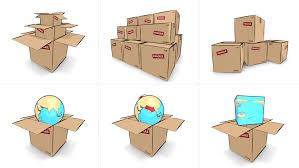 series of animated icon style cardboard box and world