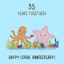 35 wedding anniversary 35th wedding anniversary card coral anniversary