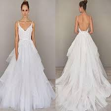 spaghetti wedding dress discount spaghetti straps a line wedding dresses backless sweep