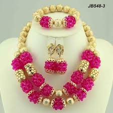 beaded necklace jewelry designs images Indian bridal coral beads necklace set dubai gold jewelry jpg