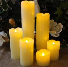 set of 6 slim ivory wax flameless candles with timer led lytes