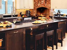 design brown varnished wooden kitchen cabinet with fireplace