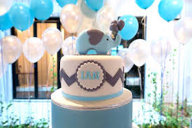 kara u0027s party ideas blue elephant cake from a modern elephant baby