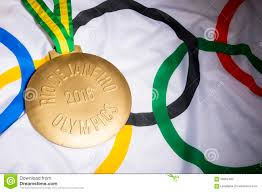 Olimpics Flag Rio 2016 Olympics Gold Medal On Flag Editorial Image Image 59952405