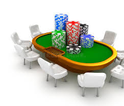 Poker Table Chairs Gambling Poker Table With Chairs And Chips On It Stock Photo
