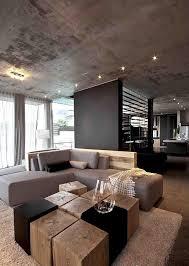 Einrichtungsideen Wohnzimmer Grau Wohnzimmer Grau Eckcouch Baumstumpf Holzbloecke Couchtisch