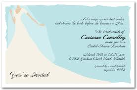 wording for bridal luncheon invitations graceful gown on blue bridal shower invitation