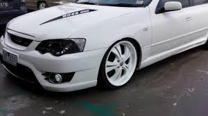 slammed jeep liberty ford falcon ba custom bonnet bodykits paintjob 20inch wheels white