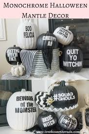 black and white halloween mantle decor treehouse threads