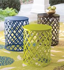 Metal Patio Side Table Metal Lattice Side Table Outdoor Side Tables