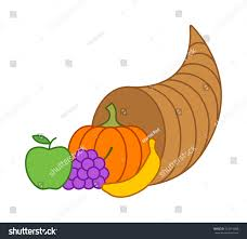 cornucopia horn plenty thanksgiving basket flat stock vector