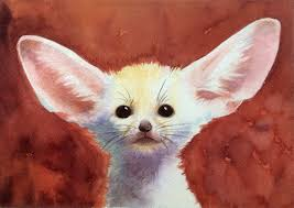 step by step painting ideas fuzzy fennec fox illustration