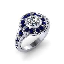 buy a custom r2d2 inspired halo engagement ring 14 karat white