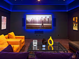 chic blue light on wide wall facing fresh yellow single sofa