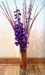 Tall Purple Vase Floral Arrangements Nebraska Woody Florals
