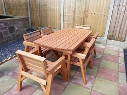 Garden Table Hgg Round Wooden Garden Table And 6 Chairs Dining Set Outdoor