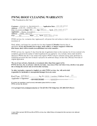 Cleaning Service Agreement Template Sample Roof Cleaning Warranty Pwng