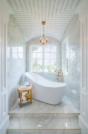 Lead Bathtub Marble Steps To Freestanding Tub Transitional Bathroom