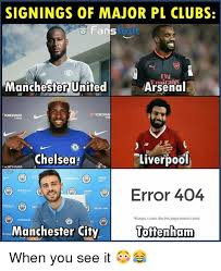 Arsenal Tottenham Meme - signings of major pl clubs fans foot fly manchester united arsenal