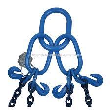 8 4 tonne grade 100 4 leg chain sling c w safety hooks chain