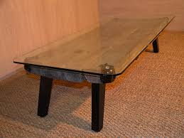 Glass And Wood Coffee Table by