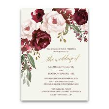 wedding invitations floral fall wedding invitations burgundy wine gold blush floral