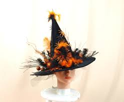 orange and black witch hat witch costume halloween decor