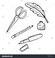stationery set scissors pencil pen ink stock vector 397434952