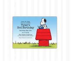 Snoopy Doghouse Peanuts Birthday Invitation Katzzmcddesigns