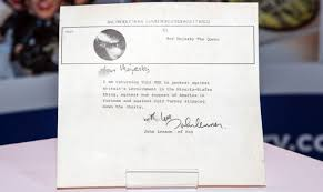 john lennon mbe return letter valued at 60k bbc news