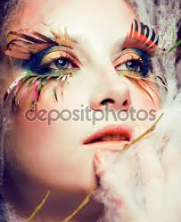 Halloween Female Makeup by Woman With Creative Make Up Closeup Like Butterfly Summer Trend