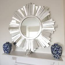 striking silver contemporary mirror sunburst mirror hallway