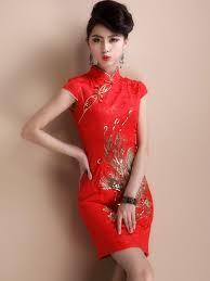red short phoenix qipao cheongsam chinese wedding dress