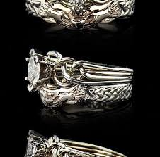 claddagh set celtic engagement ring with two tone claddagh shadow band